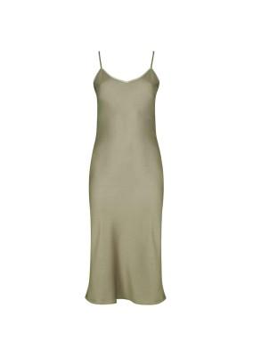 İris Haki Spagetti Askılı Saten Midi Elbise