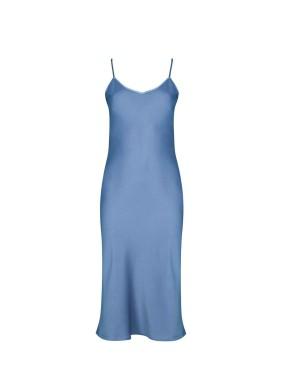 İris Mavi Spagetti Askılı Saten Midi Elbise