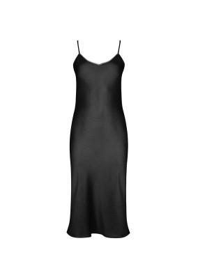İris Siyah Spagetti Askılı Saten Midi Elbise