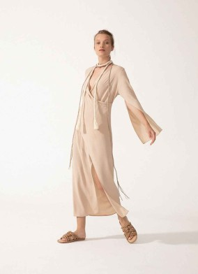 Jasius Bej Anvelop Kesim Uzun Kollu Midi Elbise