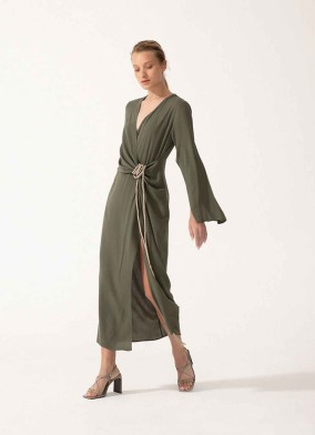 Jasius Haki Anvelop Kesim Uzun Kollu Midi Elbise