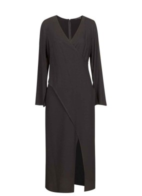 Jasius Siyah Anvelop Kesim Uzun Kollu Midi Elbise