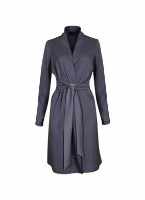 Juniper Antrasit Beli Kuşaklı Saten Ceket Bluz