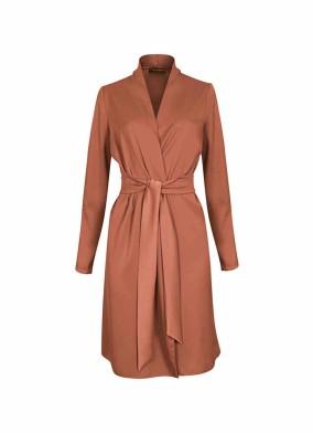 Juniper Kiremit Beli Kuşaklı Saten Ceket Bluz