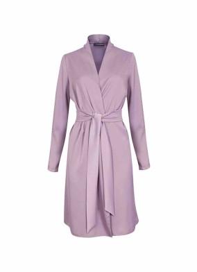 Juniper Lila Beli Kuşaklı Saten Ceket Bluz