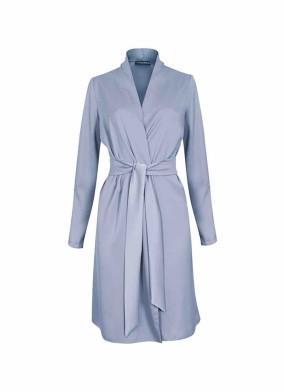 Juniper Mavi Beli Kuşaklı Saten Ceket Bluz