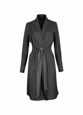 Juniper Siyah Beli Kuşaklı Saten Ceket Bluz