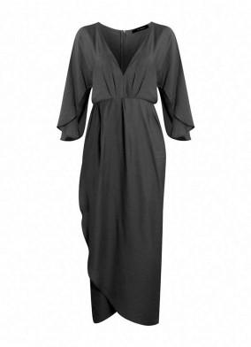 Siyah Kolu Yırtmaçlı V Yaka Viskon Elbise