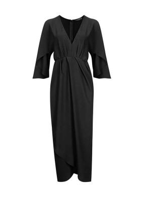 Mina Lobata Kolu Yırtmaçlı V Yaka Krep Elbise
