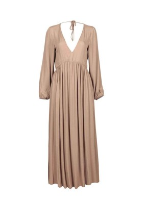 Pandora Camel Balon Kollu V Yaka Volanlı Maksi Elbise