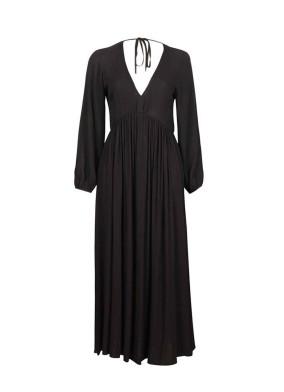 Pandora Siyah Balon Kollu V Yaka Volanlı Maksi Elbise