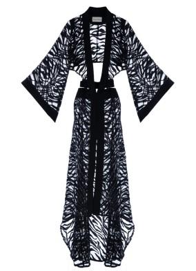 Sevilla Transparant Siyah Kimono Elbise