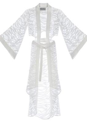 Sevilla Transparant Beyaz Kimono Elbise