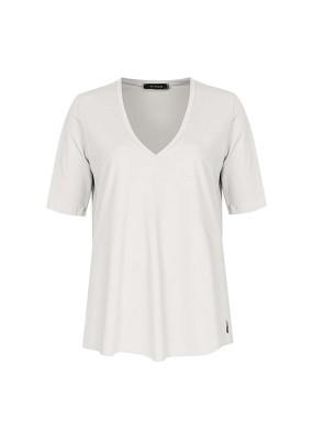 Veni Beyaz V Yaka Basic T-shirt