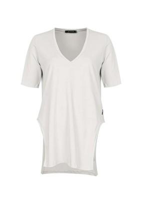 Vidi Beyaz V Yaka Önü Arkası Uzun Basic T-shirt