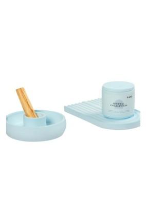 Pastel Mavi Kahve Kokulu Beton Kapaklı Soya Mum Palo Santoluk ve Gökkuşağı Tabak Set