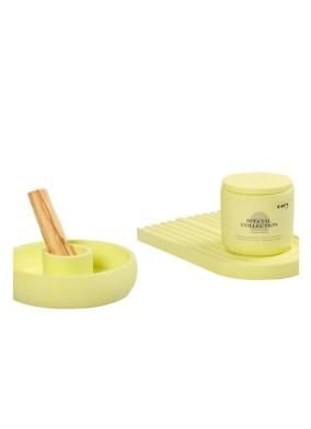 Pastel Yeşil Elma Kokulu Beton Kapaklı Soya Mum Palo Santoluk ve Gökkuşağı Tabak Set