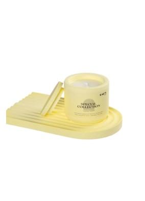 Pastel Sarı Ananas Kokulu Beton Kapaklı Soya Mum ve Gökkuşağı Tabak Set