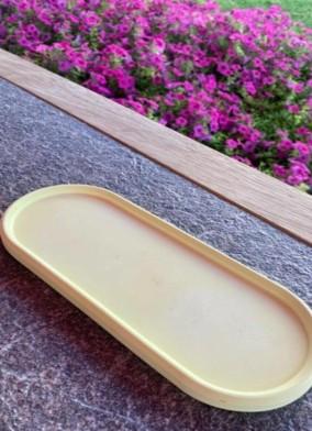 Dekoratif Oval Sarı Beton Tabak