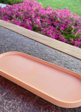 Dekoratif Oval Turuncu Beton Tabak