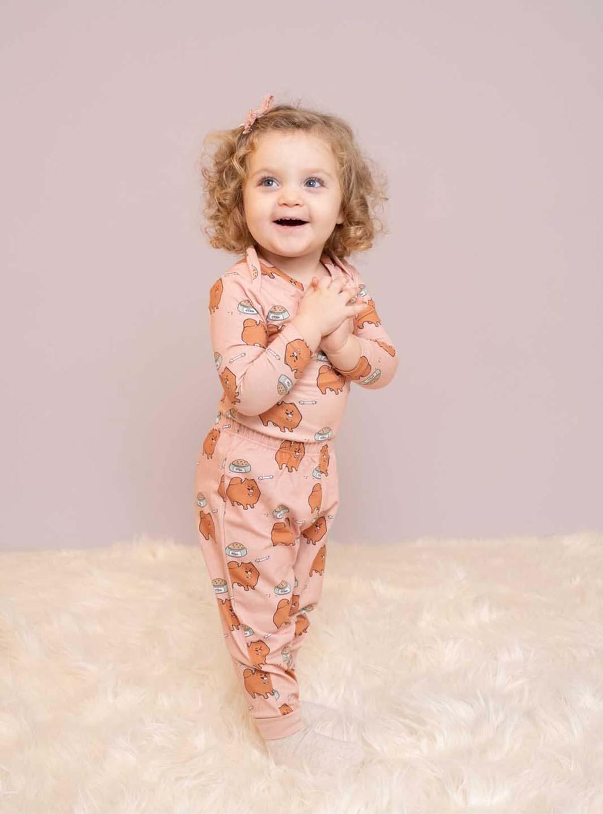 Metraj Köpek Desenli Kız Bebek Pijama Altı