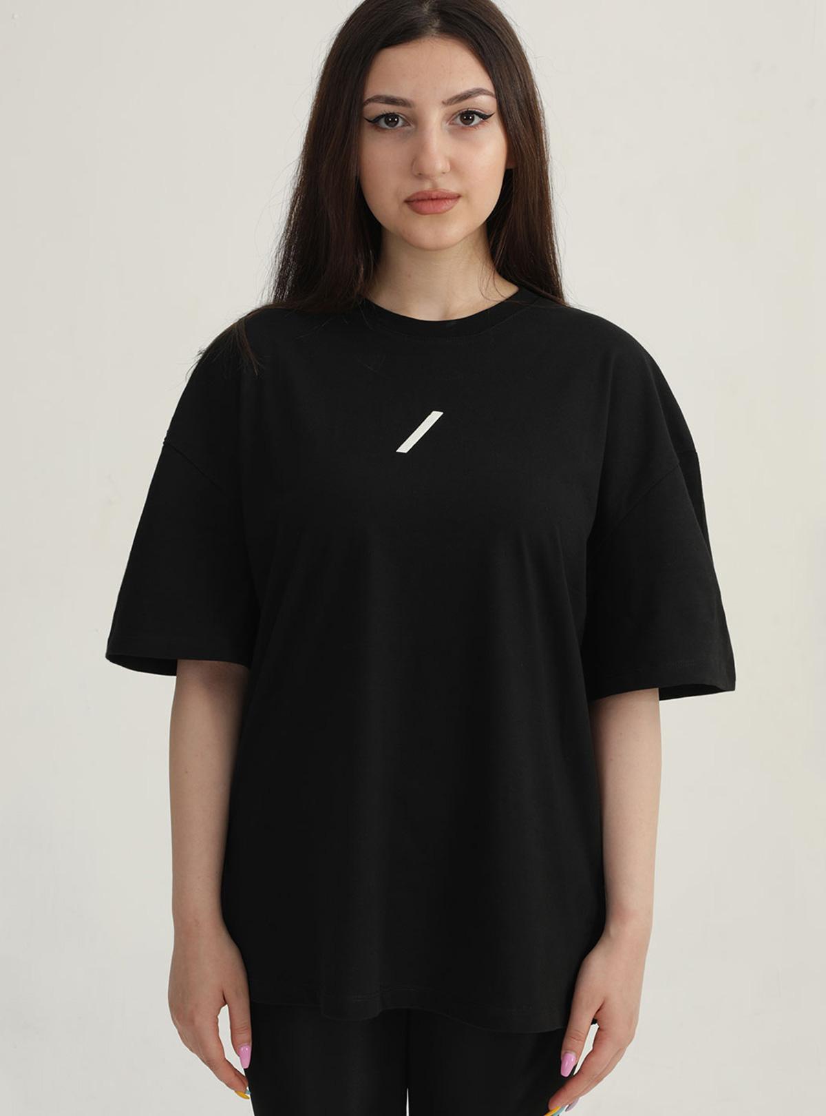 Yaşam Çiçeği Özel Koleksiyon Kadın - Oversize Tshirt Siyah
