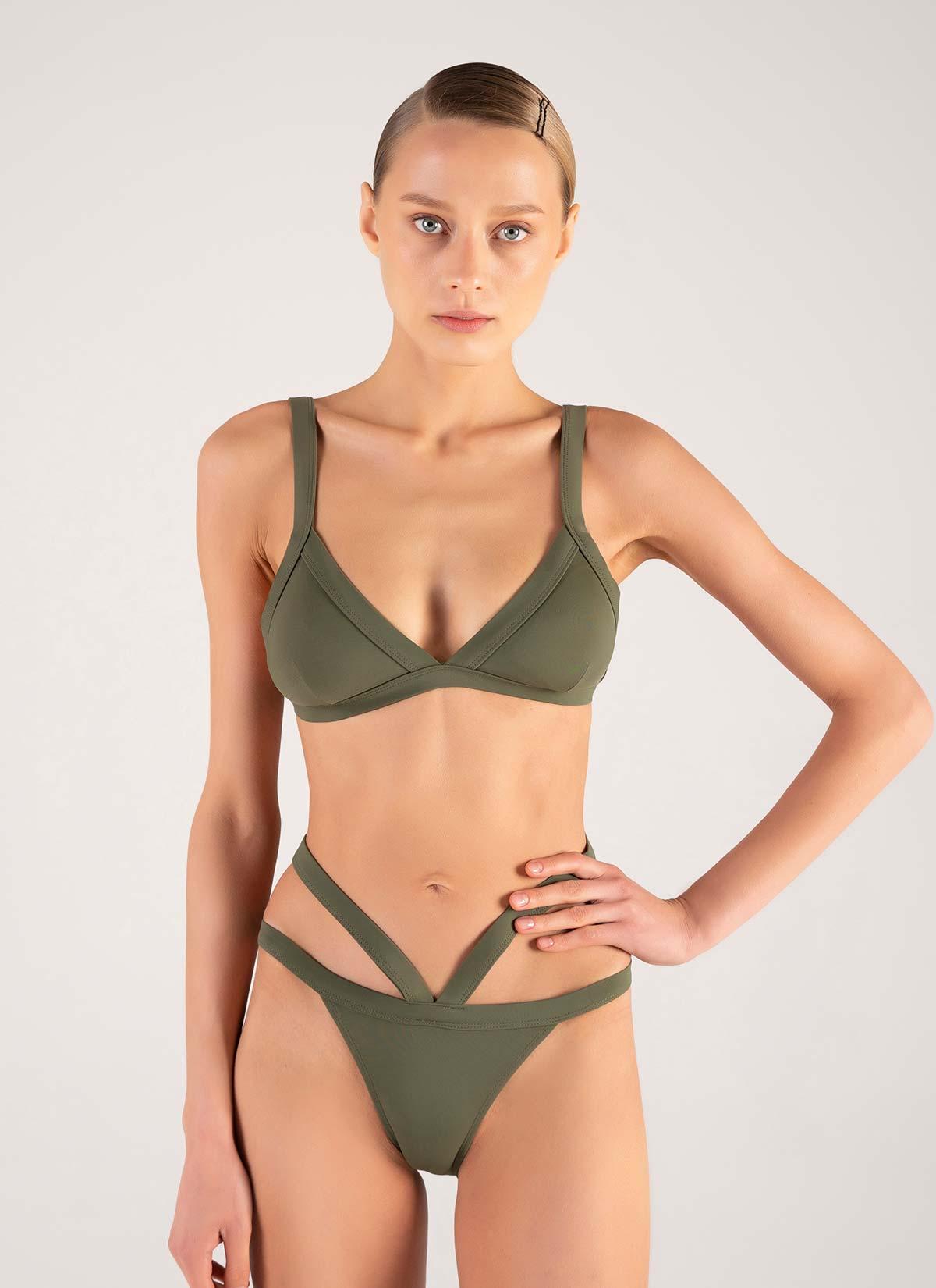 Üçgen Yeşil Belden Kemerli Bikini