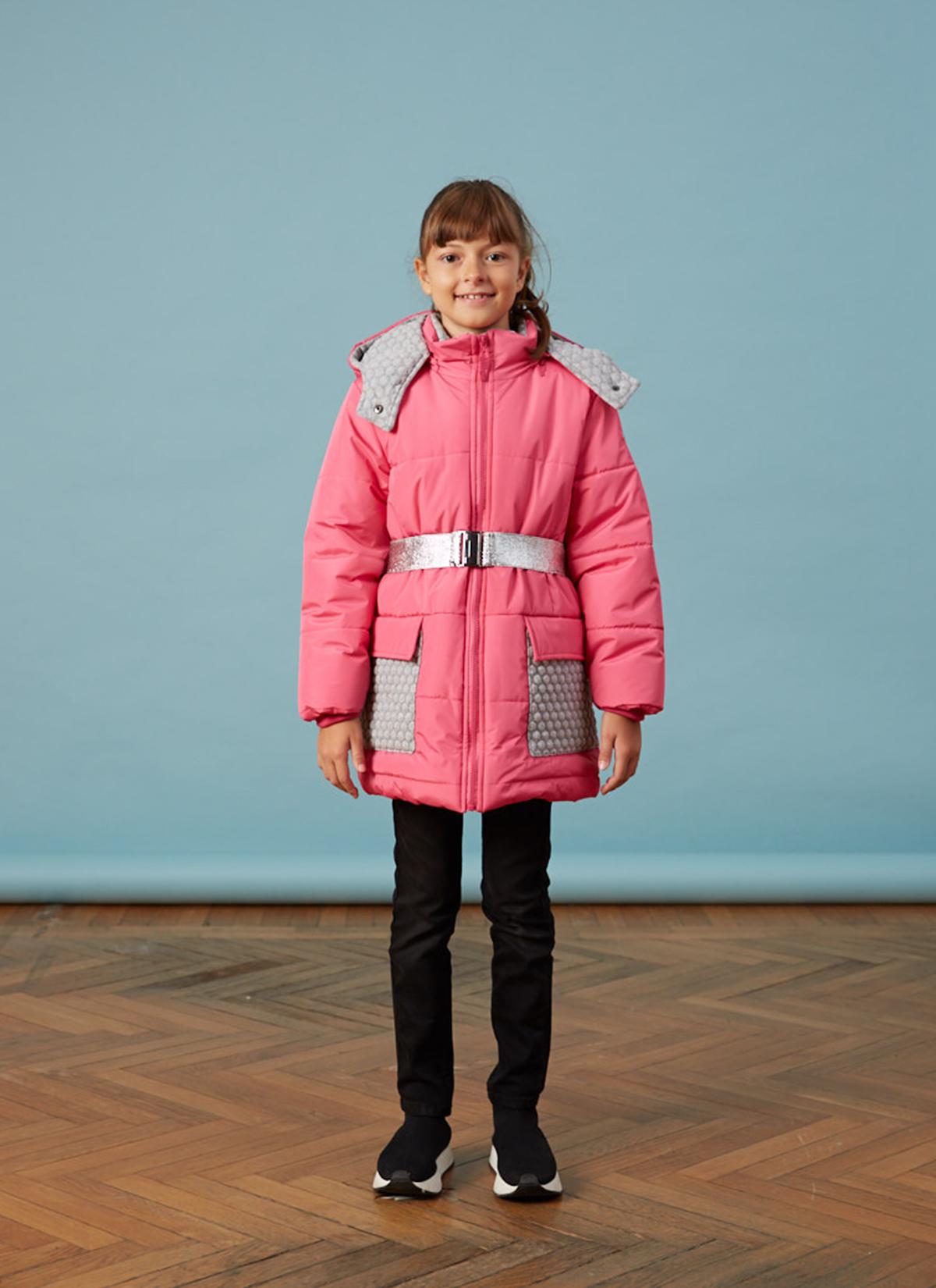 Orta Boy Pembe Çantalı Kız Anorak