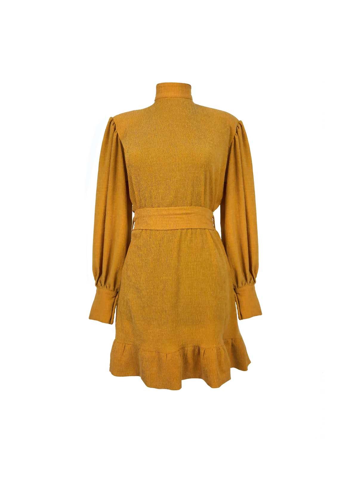 Hardal Fırfır Elbise