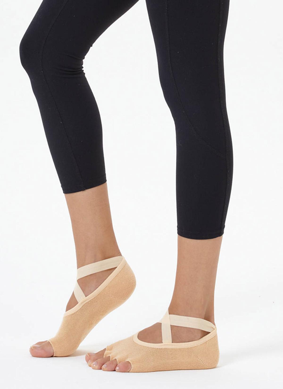Bej Çapraz Kayışlı Yoga & Pilates Çorabı
