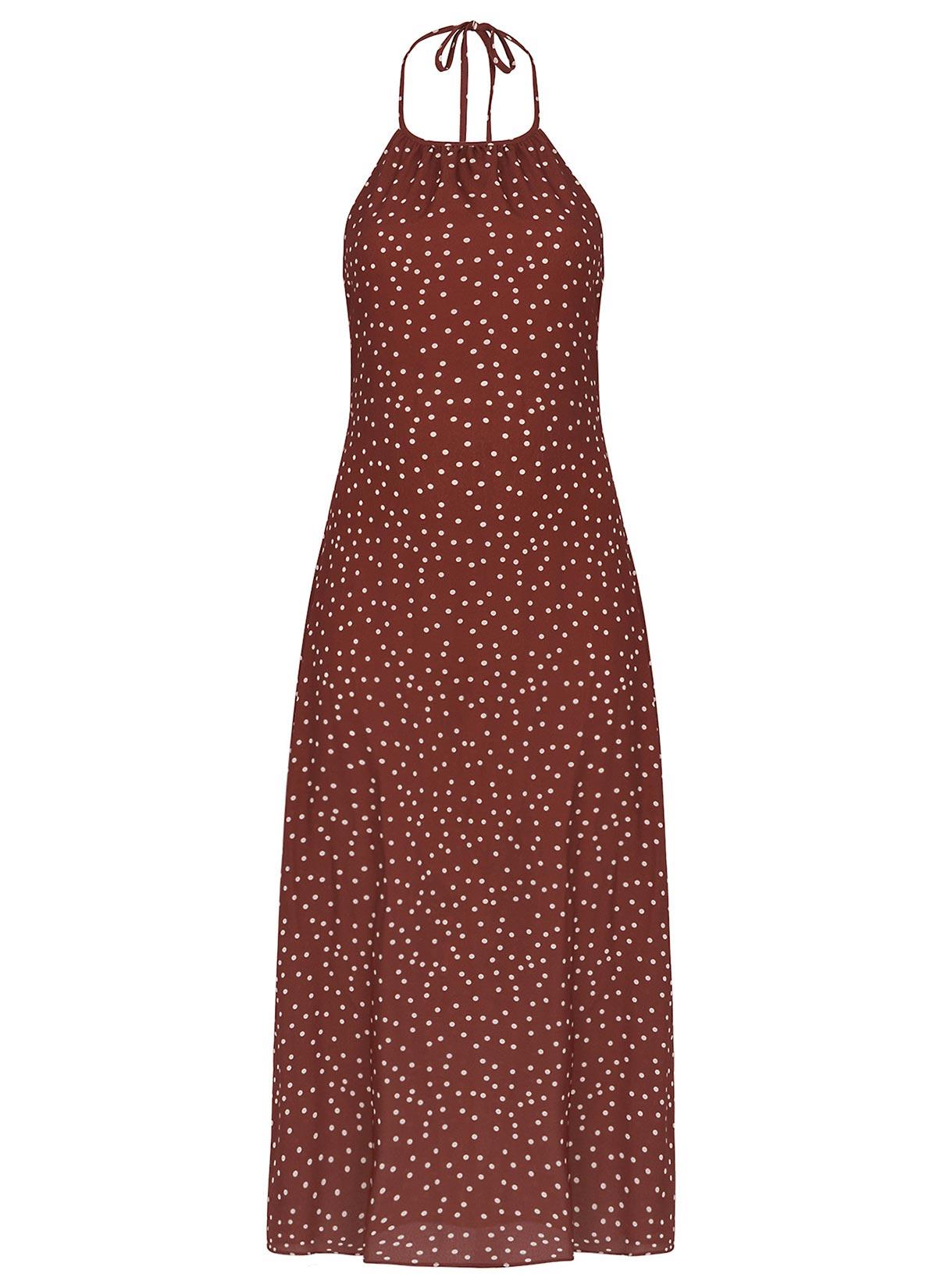 Olive Boyundan Bağlı Midi Elbise