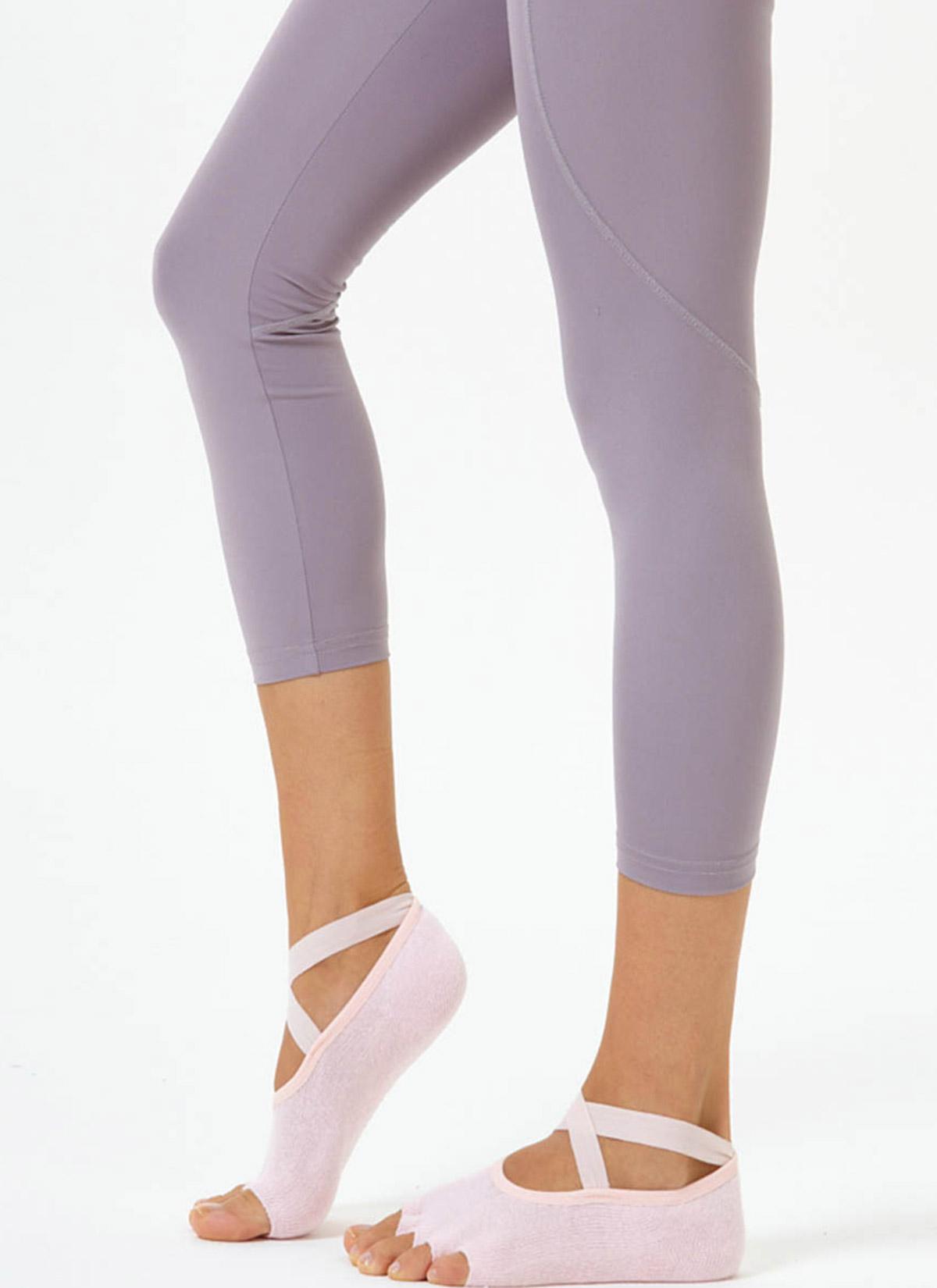 Pembe Çapraz Kayışlı Yoga & Pilates Çorabı